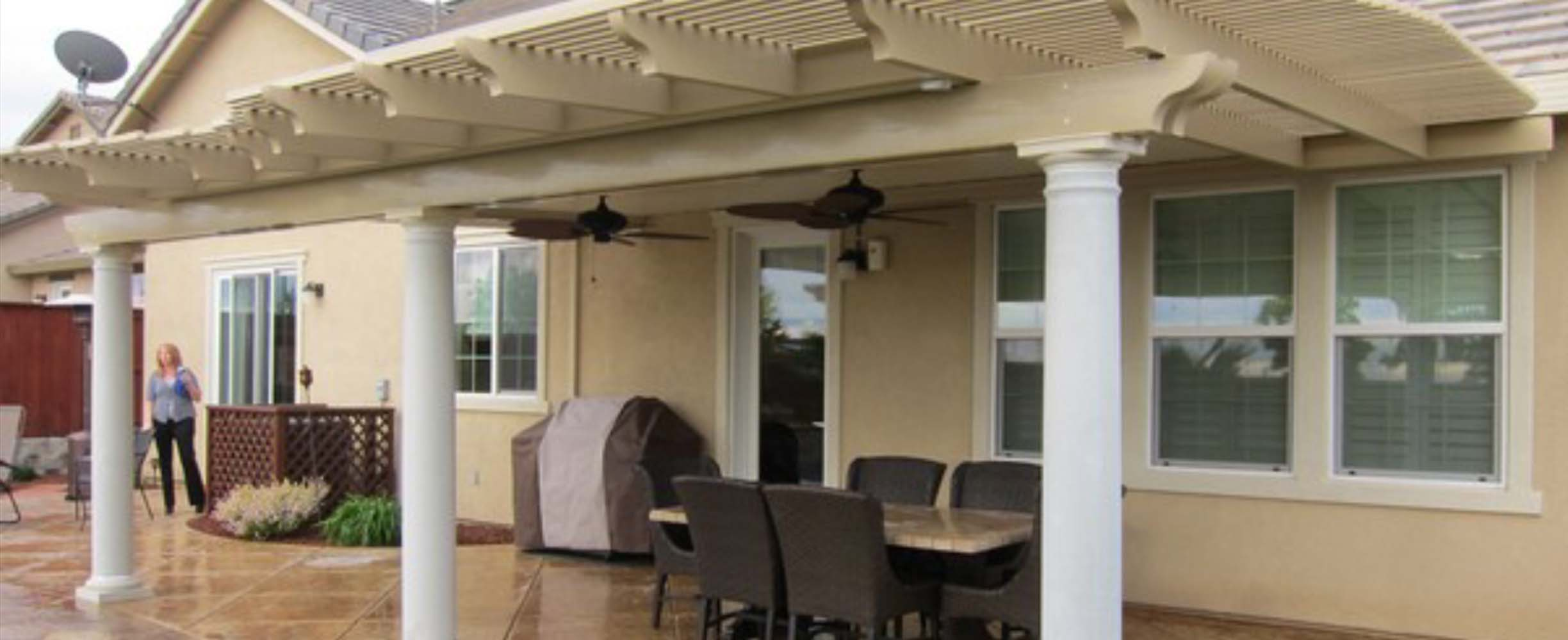 Beautiful Pergol, or pergola, adding functionality to a patio or garden in a beautiful and classy way.