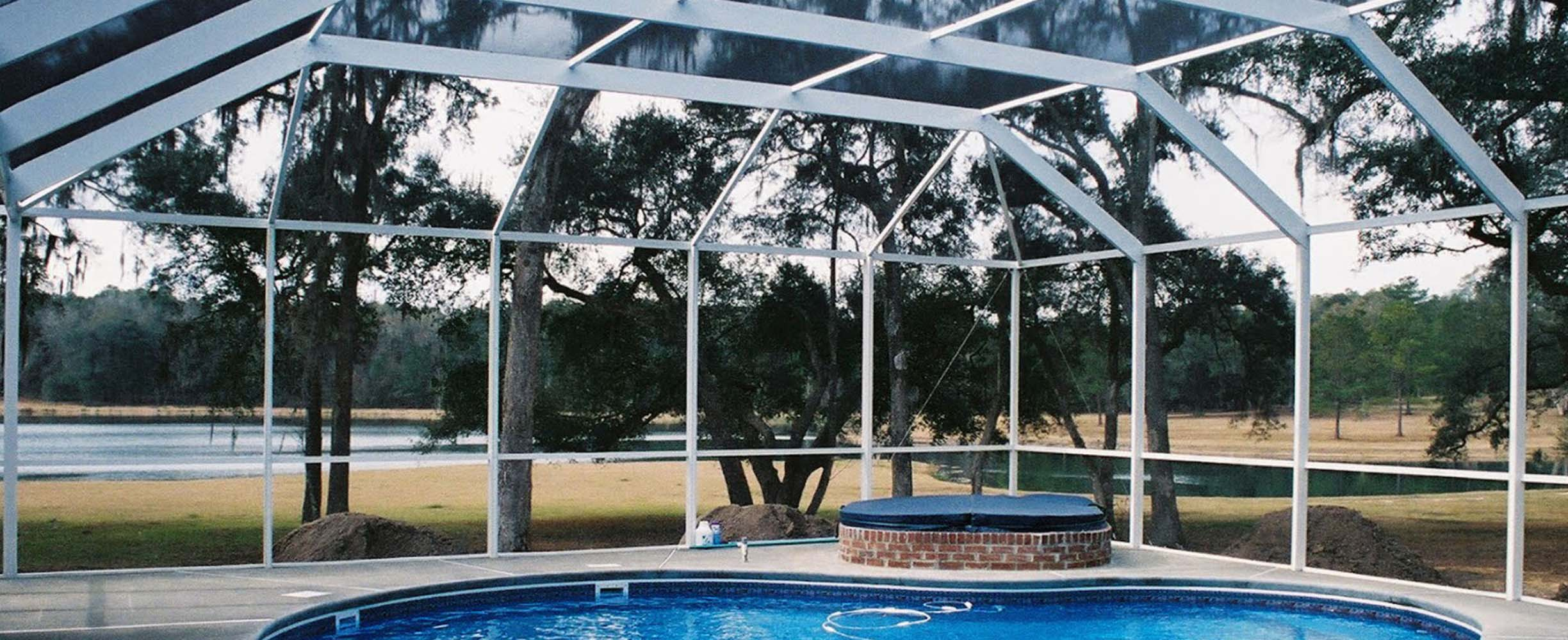 Custom pool enclosure designed to fit the pool and garden and implemented in few days and on budget