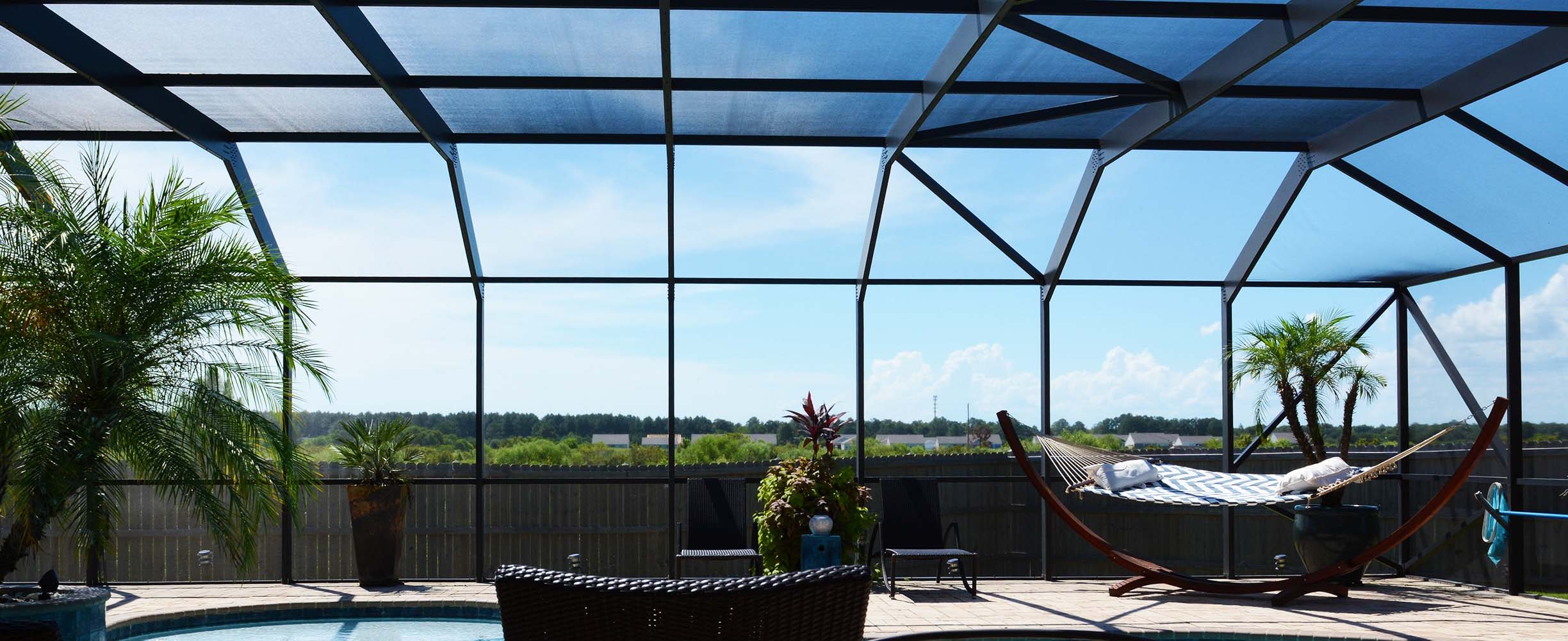 Pool enclosure designed and built to southern weather standards in Foley, Alabama